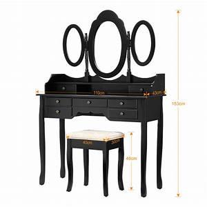 Coiffeuse Meuble Noir : coiffeuse meuble maquillage 3 miroirs tabouret rembourr vanit tiroirs commode ebay ~ Farleysfitness.com Idées de Décoration
