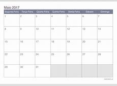 Calendário maio 2017 para imprimir iCalendáriopt