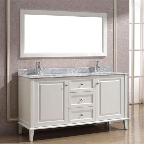 Art Bathe Lily 63 White Double Bathroom Vanity, Solid