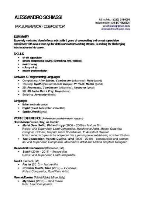 vfx freshers resume format artist resume job resume format