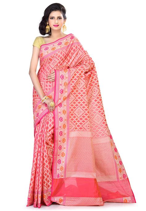 banarasi chanderi silk saree  pink sfka