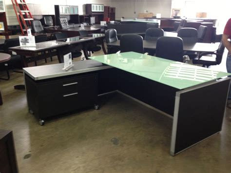 table with built in l chiarezza executive l shaped desk with white frost glass