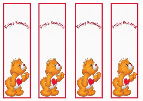 care bears bookmarks birthday printable