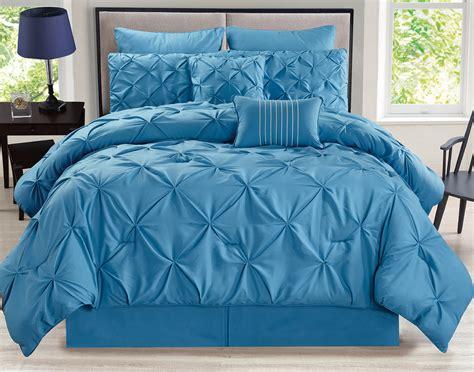 8 piece rochelle pinched pleat blue comforter set