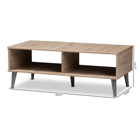 Mid century modern mosaic tile top kidney shaped coffee table, source: Baxton Studio Pierre Mid-Century Modern Oak and Light Grey Finished Wood Coffee Table