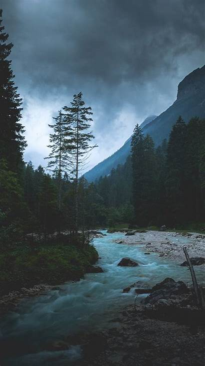 Iphone Dark Nature Night River Mountain Wood
