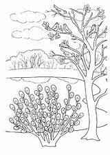 Spring Coloring Landscape sketch template