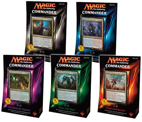Mtg Deck List Commander by Commander Deck Set Of 5 X 100 Card 2015 Mtg Magic The