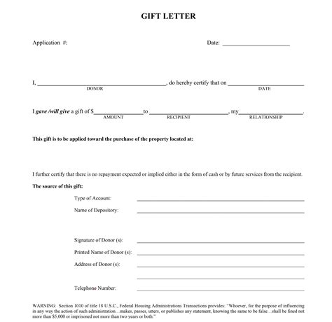 gift letter   home  payment