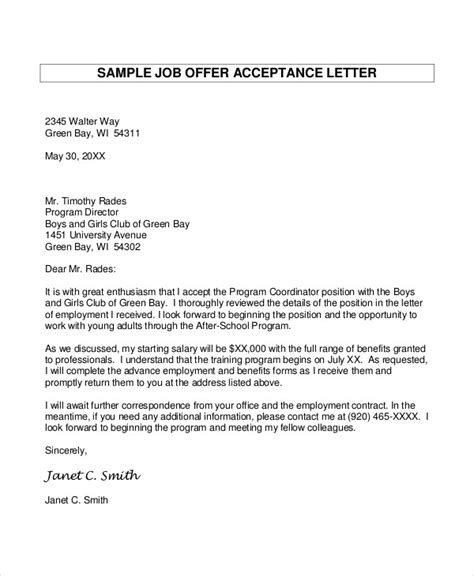 employment offer letter template offer letter 9 free sle exle format free