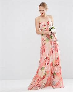asos asos wedding floral printed rouched bandeau mesh With floral maxi dress wedding