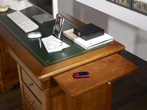 bureau merisier bureau ministre 9 tiroirs en merisier massif de style