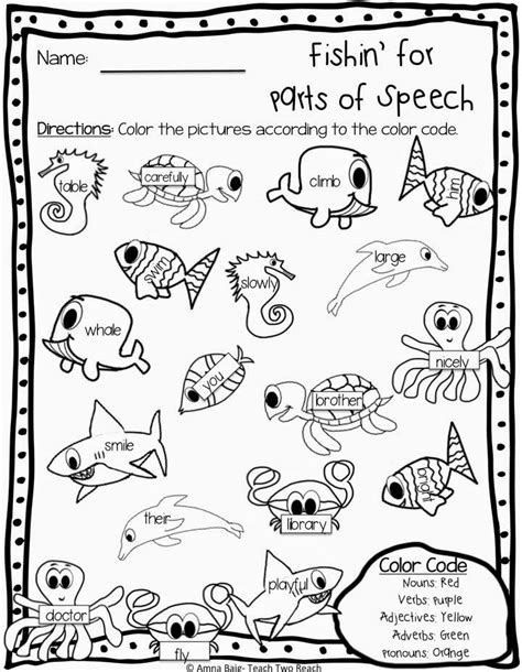 fishin for parts of speech worksheet firstgradefaculty