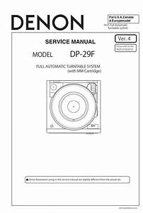 Denon Dp 29f Turntable System Service Manual  This Service