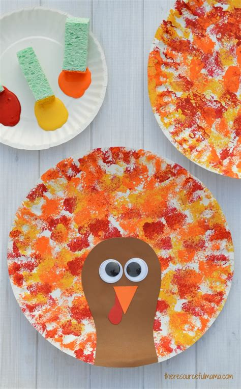 sponged painted thanksgiving turkey craft the 124 | sponge painted turkey