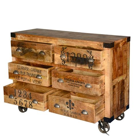 industrial hardwood 6 storage drawers rolling dresser with