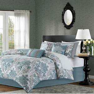 7, Piece, Multi, Damask, Comforter, Queen, Set, All, Over