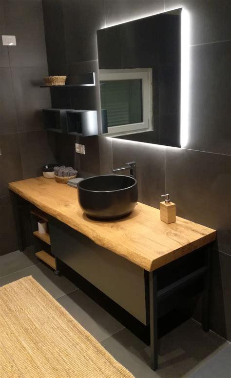 mobile bagno industrial black  pianale  legno