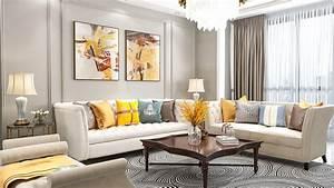 3d, Model, Living, Room, Neoclassical, Interior, Design