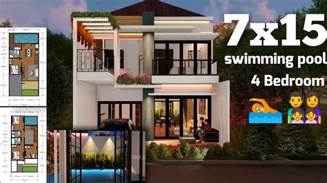 desain rumah minimalis modern  lantai   kolam