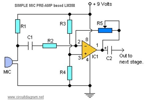 Simple Mic Pre Amp Based Circuit Schematic