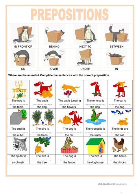 prepositions    animals worksheet  esl