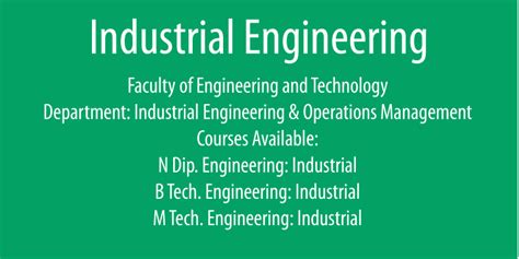 industrial engineering and operations management course programmes vaal university of