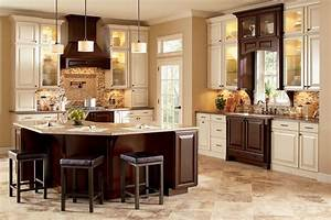 Two Tone Kitchen Cabinets Brown and White Image