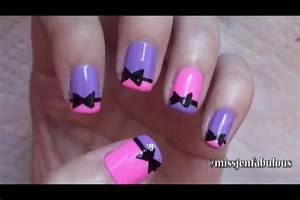 Stylish and simple bow nail art design ideas
