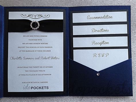 royal dark blue shimmer wedding invitations diy pocket