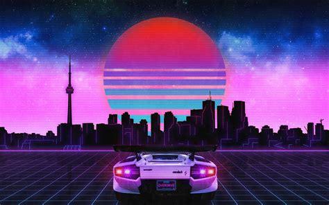 80s Neon City Wallpaper by 2880x1800 Retro Wave Lamborghini Neon City 5k Macbook Pro