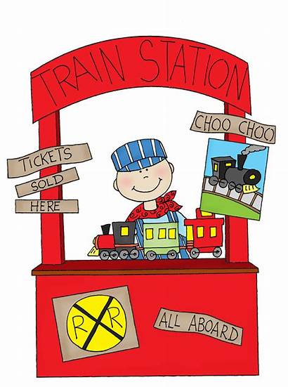 Train Booth Station Ticket Clipart Stamps Illustration