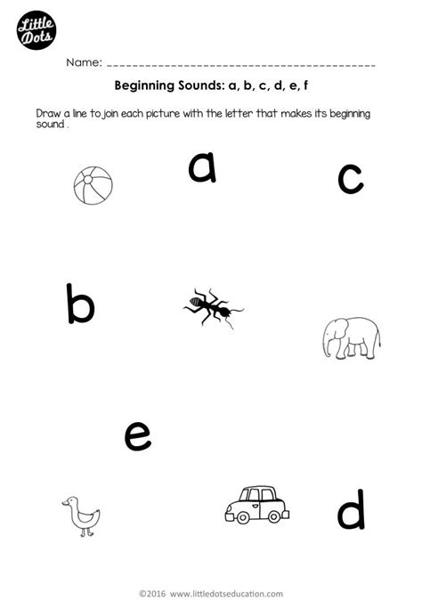 free beginning sounds worksheets for letters a b c d