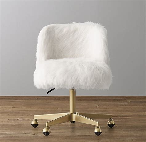 white fur office chair alessa white kashmir faux fur desk chair antiqued brass