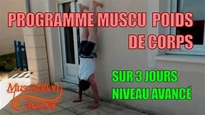 Programme Musculation Prise De Masse Sans Mat U00e9riel Sur 3jours    Niveau Avanc U00e9