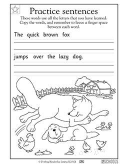 printable kindergarten worksheets word lists