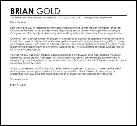 senior project manager cover letter sample cover letter