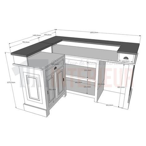 hauteur bar de cuisine hauteur standard comptoir affordable en version table