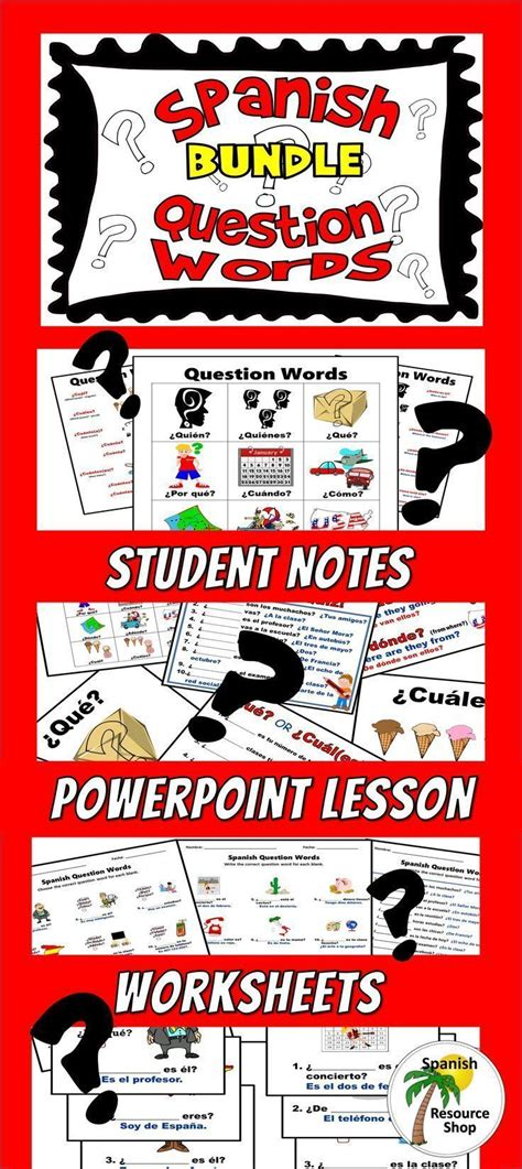 complete spanish question word lesson student notes