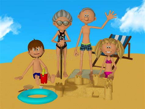3d Cartoon Grandparents With Kids On The Beach Stock