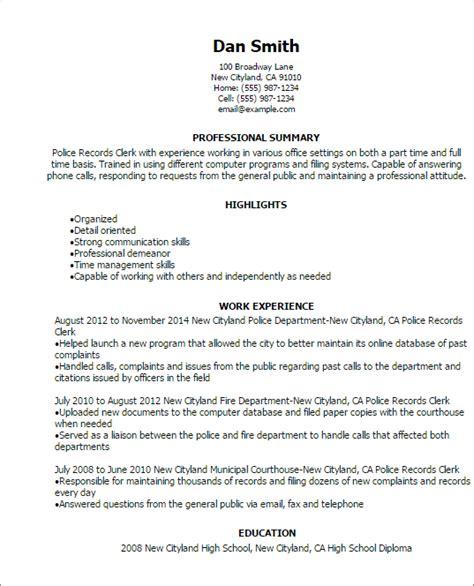 sales clerk resume resume sample police resume samples police resume