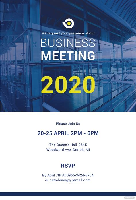 business meeting invitation template  psd ms word