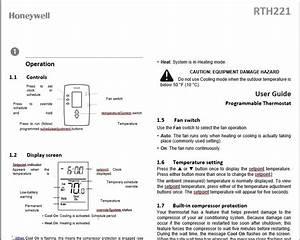 Honeywell Rth221 Operation Manual