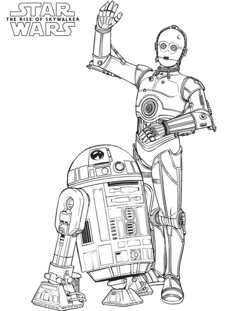 kids  funcom coloring page star wars rise  skywalker star wars droids