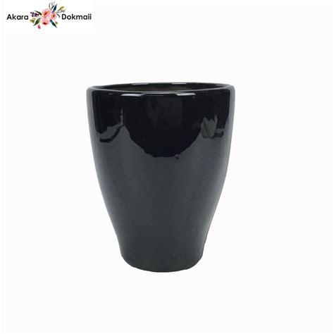 กระถางเซรามิคสีดำ สำหรับปลูกต้นไม้ หรือพลูด่าง