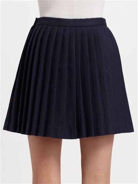 alexander mcqueen pleated wool mini skirt  blue navy