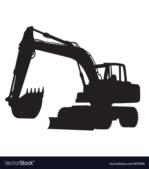 wheeled excavator silhouette royalty  vector image