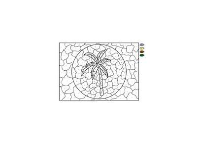 Palm Coloring Tree Number Pages Printable Printables