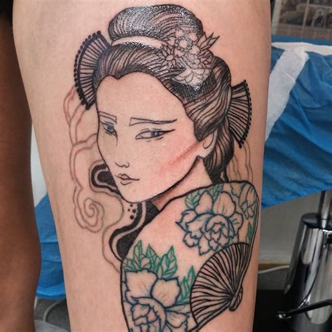 colorful japanese geisha tattoos meanings  designs