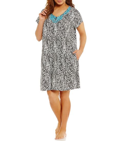 kate landry casuals plus embroidered zebra patio dress